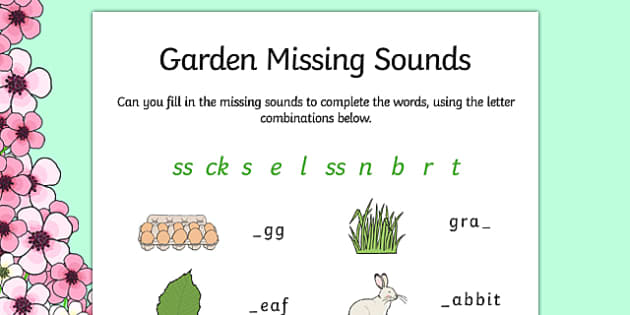 Spring Missing Sounds Worksheet - spring, phase 2, phases