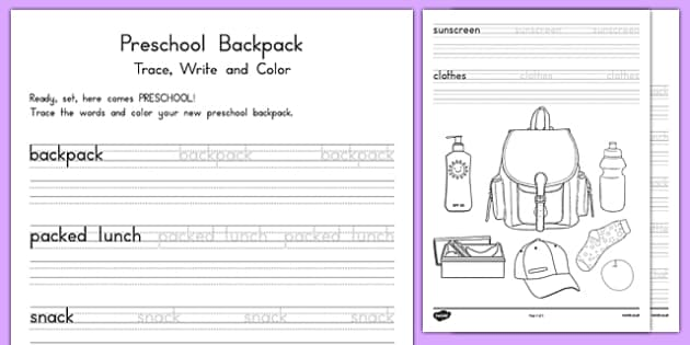 Preschool Backpack Trace and Color Activity Sheet, worksheet