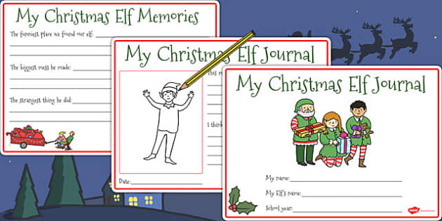 Christmas Elf Journal Writing Frames - christmas elf, journal, elf, christmas