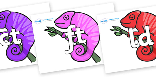 Final Letter Blends on Chameleons - Final Letters, final letter, letter blend, letter blends, consonant, consonants, digraph, trigraph, literacy, alphabet, letters, foundation stage literacy