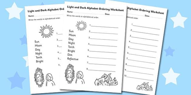Light and Dark Alphabet Ordering Worksheet - light, dark, order
