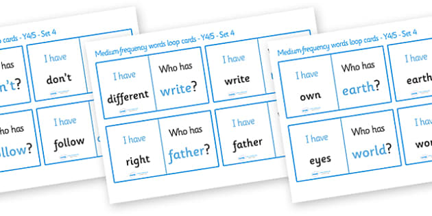 Medium Frequency Words Loop Cards Set 4 (Y4 & Y5) - medium frequency words, loop cards, set, set 4, frequency words, words, medium, Y4, Y5, year 4, year 5, five, four, year, loop cards, cards, flashcards, loop, image