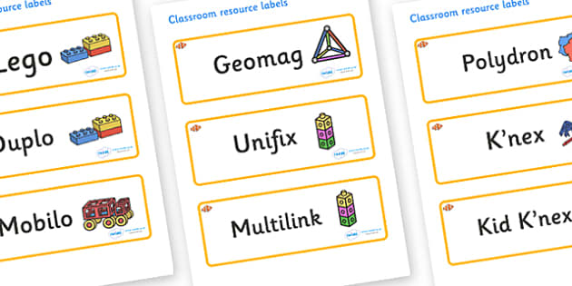 Clownfish Themed Editable Construction Area Resource Labels - Themed Construction resource labels, Label template, Resource Label, Name Labels, Editable Labels, Drawer Labels, KS1 Labels, Foundation Labels, Foundation Stage Labels