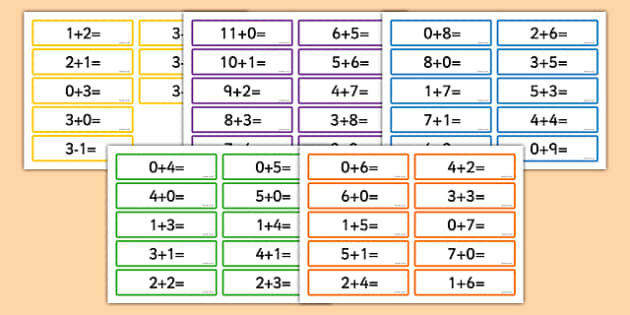Addition and Subtraction Number Sentences for Number Bonds to 11