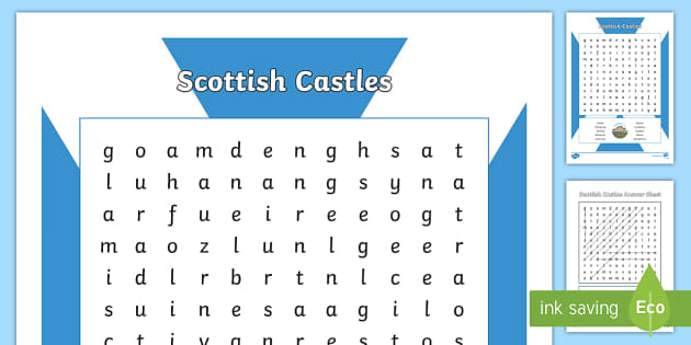 Scottish Castles Word Search - Scottish Castles, word search, Scotland, Scottish history,Scottish