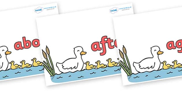 KS1 Keywords on Five Little Ducks - KS1, CLL, Communication language and literacy, Display, Key words, high frequency words, foundation stage literacy, DfES Letters and Sounds, Letters and Sounds, spelling