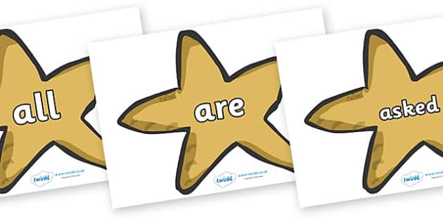Tricky Words on Starfish - Tricky words, DfES Letters and Sounds, Letters and sounds, display, words