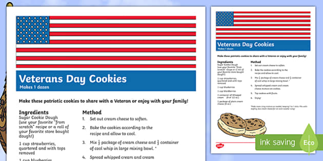 USA Veterans Day Cookie Treat Recipe