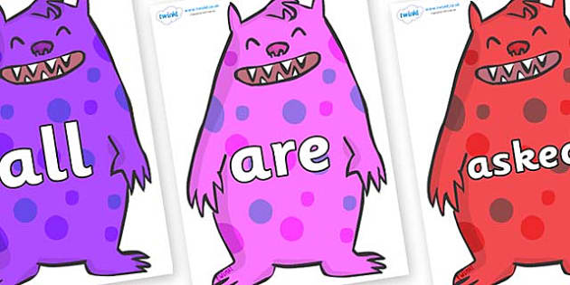 Tricky Words on Monsters - Tricky words, DfES Letters and Sounds, Letters and sounds, display, words