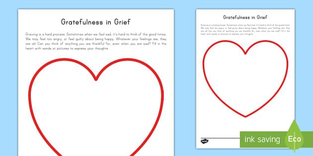 Gratefulness in Grief Activity - grief, tragedy