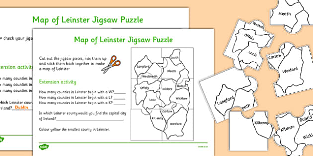 Map of Leinster Jigsaw Puzzle - roi, irish, republic of ireland, map, leinster, jigsaw, puzzle