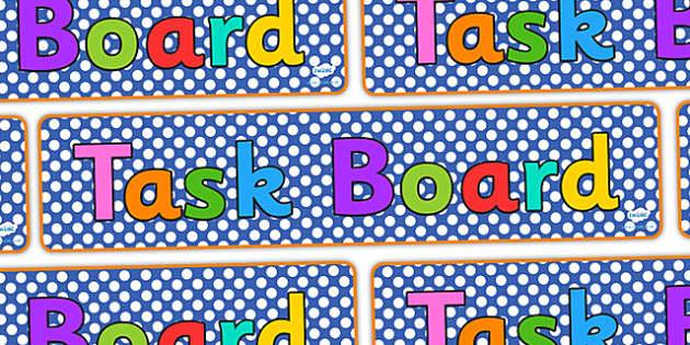 Task Board Display Banner - task board, display banner, banner, header, banner for display, display header, header for display, classroom display, display