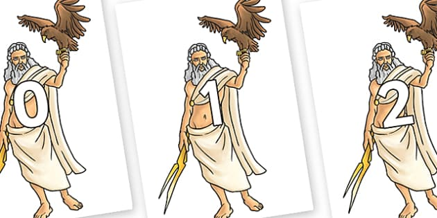 Numbers 0-50 on Zeus - 0-50, foundation stage numeracy, Number recognition, Number flashcards, counting, number frieze, Display numbers, number posters