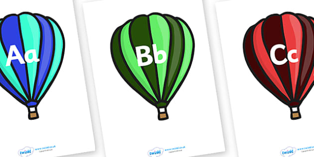 A-Z on Hot Air Balloons (Stripes) - Alphabet frieze, Display letters, Letter posters, A-Z letters, Alphabet flashcards, hot air balloons