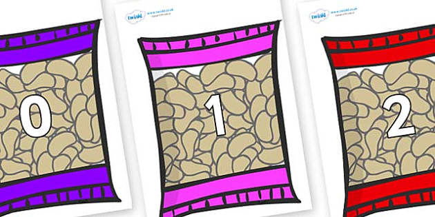 Numbers 0-50 on Food Packets - 0-50, foundation stage numeracy, Number recognition, Number flashcards, counting, number frieze, Display numbers, number posters