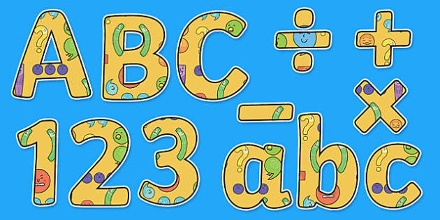 Punctuation Themed Display Letters and Numbers Pack - English lettering, English display, English display lettering, punctuation