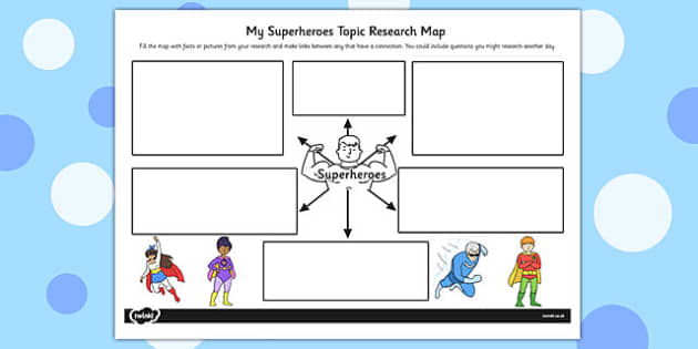 Superheroes Topic Research Map - research map, superheroes, map
