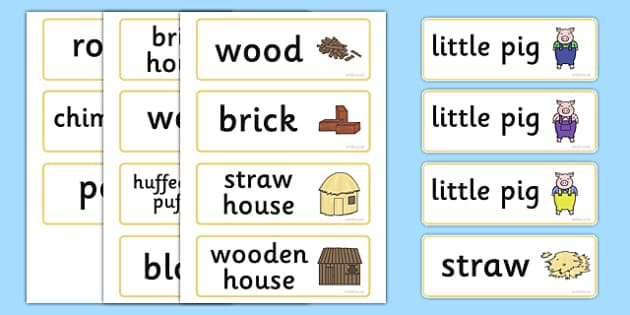The Three Little Pigs Word Cards - Three little pigs, traditional tales, word cards, flashcards, tale, fairy tale, pigs, wolf, straw house, wood house, brick house, huff and puff, chinny chin chin