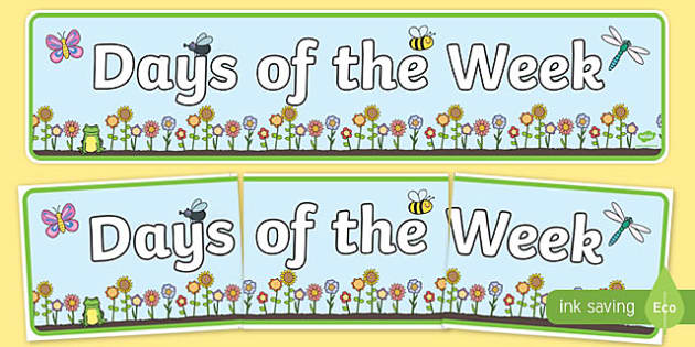 Days of the Week Flower Banner - days of the week, flower, banner, display banner, display