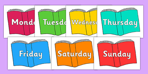 Days of the Week on Books - days of the week, books, reading, book, days, week, read