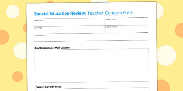 Teacher Concern Form - teacher, concern, form, meeting, sheet
