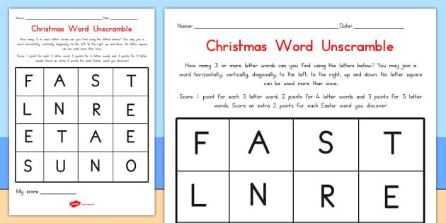 Christmas Word Unscramble - australia, christmas, unscramble