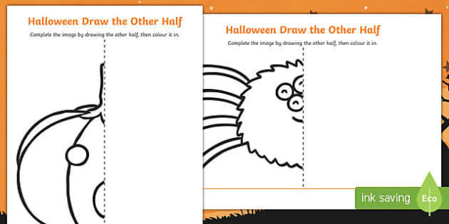 Halloween Themed Draw the Other Half Activity Sheet, worksheet