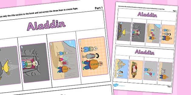 Aladdin Story Writing Flap Book - aladdin, story, writing, flap