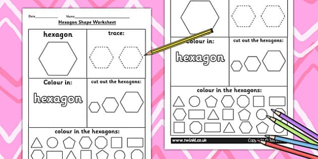 Hexagon Shape Worksheet - shapes, 2D shapes, tracing, numeracy
