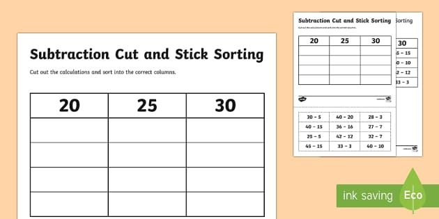 20, 25, 30 Subtraction Cut and Stick Activity - subtraction, cut and stick, activity, 20, 25, 30