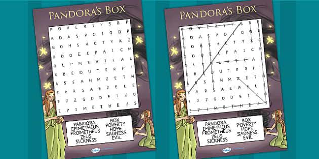 Pandoras Box Ancient Greek Myth Differentiated Wordsearch - myths