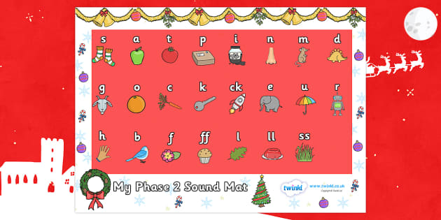 Christmas Themed Phase 2 Sound Mat - christmas, phase 2, phase two, sound mat, phase 2 sound mat, christmas themed sound mat, themed sound mat, phase 2 sound