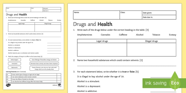 KS3 Drugs and Health Homework Activity Sheet - Homework, drugs, alcohol, drug, legal, illegal, organ systems, stimulants, solvents, depressants, ha