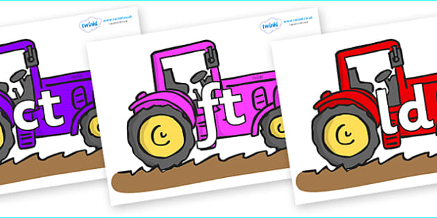 Final Letter Blends on Tractors - Final Letters, final letter, letter blend, letter blends, consonant, consonants, digraph, trigraph, literacy, alphabet, letters, foundation stage literacy