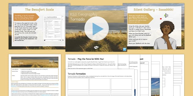 Tornado! Lesson Pack - Natural Hazards, tornado, Moore, Oklahoma, Tornado Alley, winds, Fujita, Beaufort Scale.