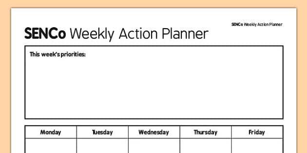SENCo Weekly Action Planner - senco, action planner, action, planner, plan, weekly