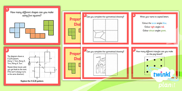 PlanIt Y4 Properties of Shape Challenge Cards - PlanIt, Properties of Shapes