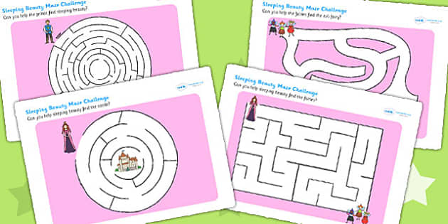 Sleeping Beauty Differentiated Maze Activity Sheet Pack - mazes , worksheet