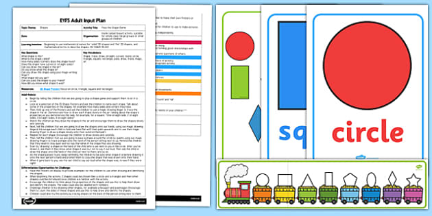 EYFS Pass the Shape Game Adult Input Plan and Resource Pack - EYFS, Early Years planning, adult led, Maths, shape, space and measure, 2D shapes.