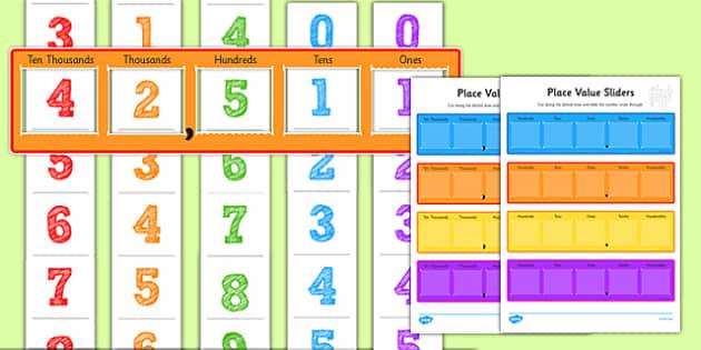 Maths Place Value Sliders - place value, place value slider, numeracy place values, place values, number slider, number strips, numbers, ks2 numeracy