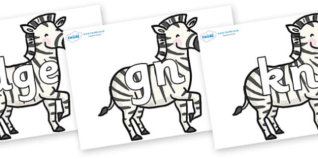 Silent Letters on Zebras - Silent Letters, silent letter, letter blend, consonant, consonants, digraph, trigraph, A-Z letters, literacy, alphabet, letters, alternative sounds