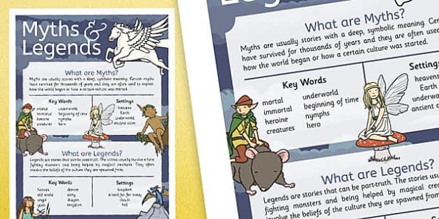 Myths and Legends Information Display Poster - myhts, legends, information, poster, display