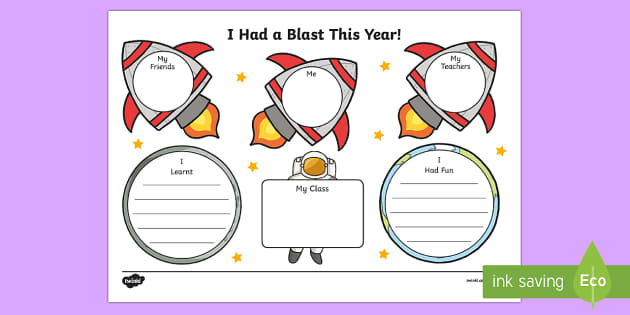 End of Year Space Themed Activity Sheet