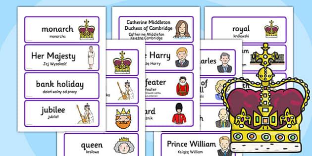 Royal Family Topic Cards Polish Translation - polish, royal family, topic, cards, royal