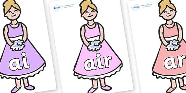 Phase 3 Phonemes on Bridesmaids - Phonemes, phoneme, Phase 3, Phase three, Foundation, Literacy, Letters and Sounds, DfES, display