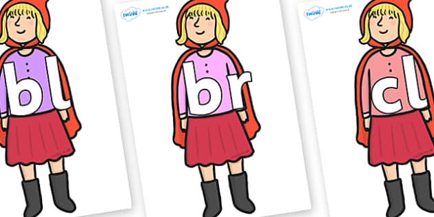 Initial Letter Blends on Red Riding Hood to Support Teaching on The Jolly Christmas Postman - Initial Letters, initial letter, letter blend, letter blends, consonant, consonants, digraph, trigraph, literacy, alphabet, letters, foundation stage litera