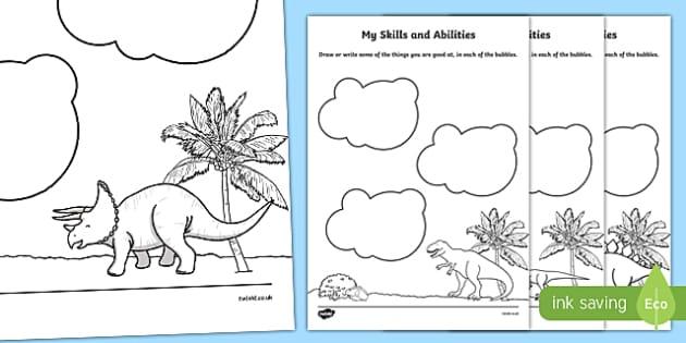 Dinosaur Themed Skills and Abilities Activity Sheet - dinosaur, skills, abilities, activity, worksheet