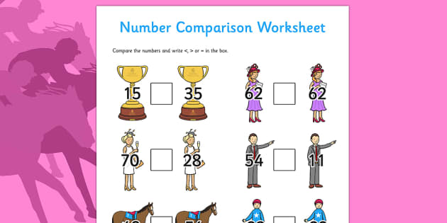 The Melbourne Cup Number Comparison Worksheets - australia, melbourne cup, number, comparison