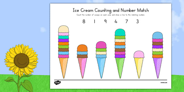 Ice Cream Counting and Number Match - usa, america, ice cream, summer, number match, number, match