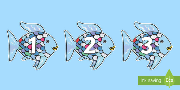Numbers 0-50 on Rainbow Fish to Support Teaching on The Rainbow Fish - 0-50, foundation stage numeracy, Number recognition, Number flashcards, counting, number frieze, Display numbers, number posters